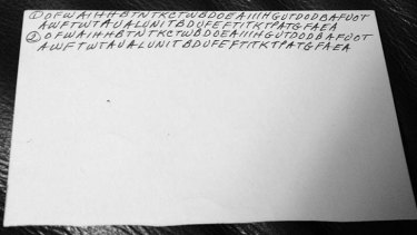 The back of an index card filled with letters written by Dorothy Holm.