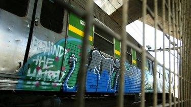Graffiti on a train in the Macauley yards.