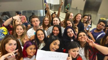 One Direction fans waited hours at Sydney Airport for the band to arrive.
