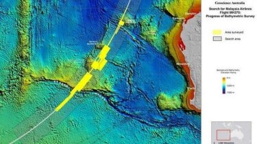 A map of the latest MH370 search area, focusing on a narrow arc in the southern Indian Ocean.