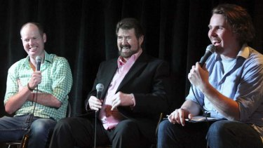 Tom Gleeson, Derryn Hinch and presenter Steele Saunders at a recording of the <i>I Love Green Guide Letters</i> podcast.