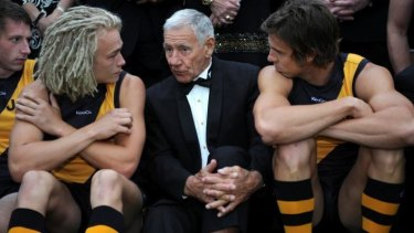 Tommy Hafey with with Ben Nason and Brett Deledio in 2011.