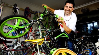 Raff Merhi with his beloved collection of BMX bikes