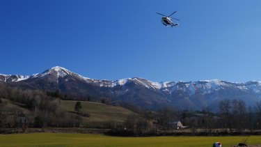 A helicopter comes in to land at Seynes-les-Alpes near to the Germanwings crash site.