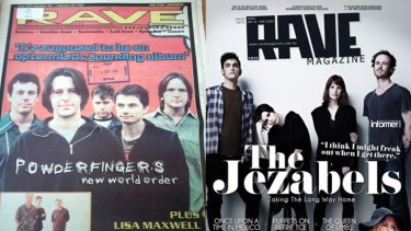 An issue of <i>Rave Magazine</i> from 1998, left, and from 2012.