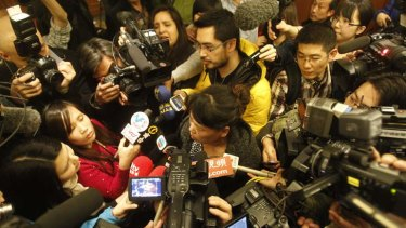 A relative of a passenger onboard Malaysia Airlines flight MH370 answers media questions.