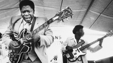 BB King, left, and an accompanist perform during the opening of the 1980 New Orleans Jazz and Heritage Festival.