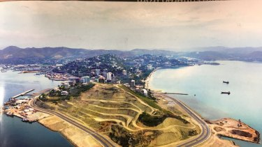 The brochure for the Paga Hill development showing the headland that has been cleared for development.