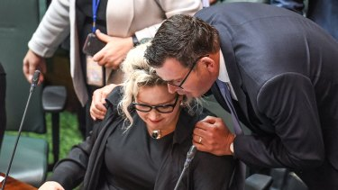 Prenier Daniel Andrews and Health Minister Jill Hennessy during the mammoth sitting.