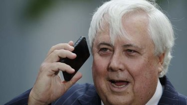 Clive Palmer on Wednesday. Photo: Alex Ellinghausen