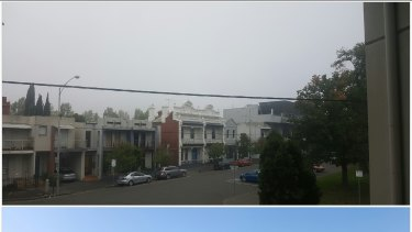 Fog hides the Melbourne CBD from North Melbourne this  morning.