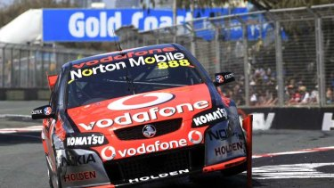 The Triple Eight Race Engineering Holden Commodore of Craig Lowndes and Andy Priaulx of Great Britain in Friday's action on the Gold Coast.
