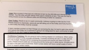 "Bupa's instructions for ""Continence Training""."