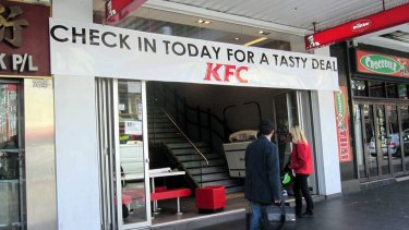 The banner outside the KFC George Street store today.