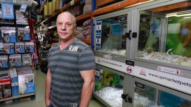Upmarket Pets owner Greg Kirby in his CBD shop near Queen Victoria Market.