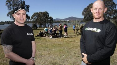 Healthy exercise: James Hellyer, left, and Ian Bone take a break from the ANZAC Warriors Walk.  Current and former Navy, Army and Air Force members are walking 80km around Lake Burley Griffin to raise funds and awareness of PTSD.