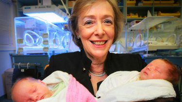 Dr Christine Tippett, director of maternal foetal  medicine at Monash Medical Centre, with babies Celeste Anne and Pippa Alexis Grimme at Jessie McPherson Private Hospital.