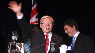 Kevin Rudd waves to supporters following his election defeat.