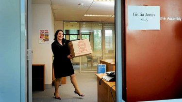 Newly elected MLA Giulia Jones moves into her office at the Legislative of Assembly.