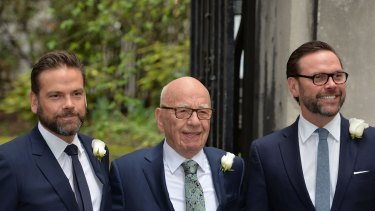 Rupert Murdoch with his sons Lachlan, left.