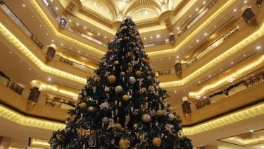 Controversial ... a Christmas tree has been decked out with $US11 million worth of gold and precious stones
