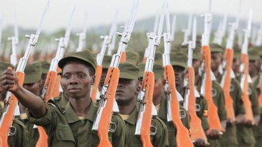 Ready for duty: Somali soldiers, trained by the European Union march on parade during their passing out ceremony in Uganda.