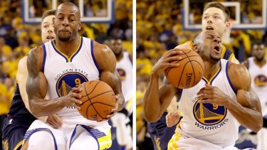 Andre Iguodala reacts after he is fouled by Matthew Dellavedova.