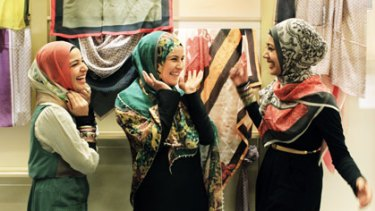 Mouna Fattouh, sister Ruby and Manaal Fatima (from left), try on the latest prints at Hajib House.