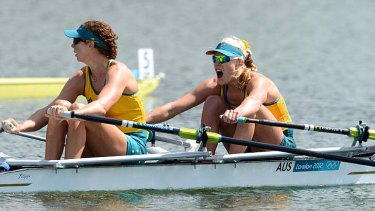 More silverware ... Brooke Pratley and Kim Crow finish second in the women's double sculls.