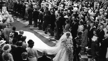 Which church... the late Lady Diana Spencer, Princess of Wales, walks down the aisle with Prince Charles after their wedding at London's St. Paul's Cathedral in 1981.