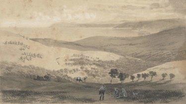 Nicholas Chevalier's 1862 watercolour of Louttit Bay.