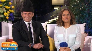 Karl Stefanovic wears a beanie on the Today show.