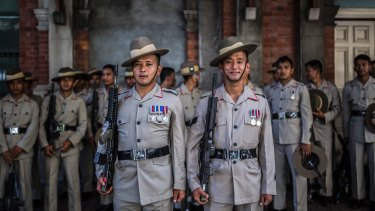 Gurkhas Corporal Santosh Shrestha and Corporal Robin Gurung at Brisbane's Anzac parade. Members of the Nepalese unit will also be taking part in the <i>The Sydney Morning Herald</I> Half Marathon on May 21.