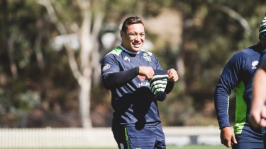 Josh Papalii at training for the Canberra Raiders.
