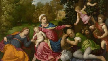 Paris Bordone's <i>Rest on the flight into Egypt with Saint Catherine and angels.</i>