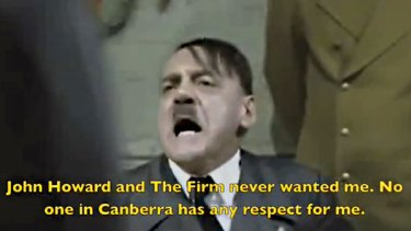 Furore...a screen grab from the YouTube attack on federal Liberal MP Alex Hawke