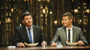 <i>My Kitchen Rules</i> judges Manu Fiedel and Pete Evans.