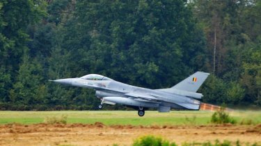 Jets scrambled: an F-16 fighter jet takes off from the military airbase in Europe.