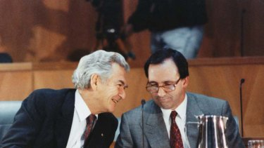Bob Hawke and Paul Keating ... Keating's first challenge resulted in a  44 votes to 64 defeat.