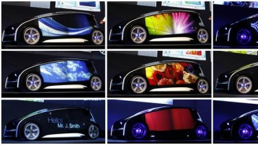 Various contents are seen on the varied display space of Toyota's concept vehicle Fun-Vii.