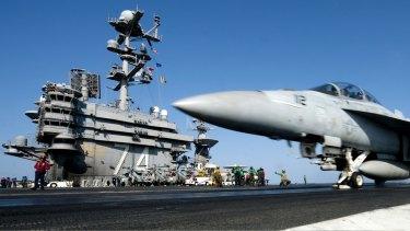 A Super Hornet on the aircraft carrier USS John C. Stennis.