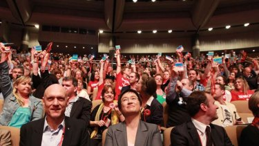 Senator Penny Wong watches on as delegates vote on making marriage equality Labor policy.