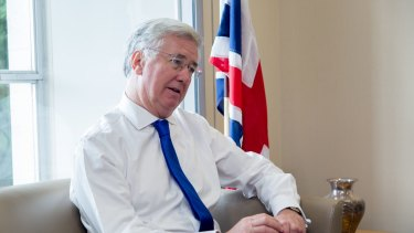 Former British Defence Secretary Michael Fallon in his London office this year.