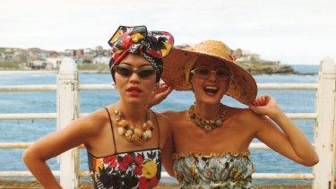 Linda Jackson and Jenny Kee wearing Jackson?s Tutti Frutti dress in 1975. Photo: Ann Noon