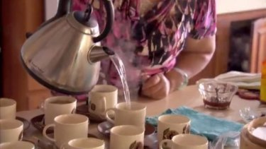 Grandma is the perfect hostess, serving up plenty of tea.