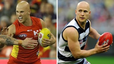 Gary Ablett playing for Gold Coast this year (left) and during the 2009 grand final (right).