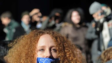 Resistance ... Nadine Wolf wears tape over her mouth as she joins a protest by the technology organisation New York Tech Meetup against proposed laws to curb internet piracy.