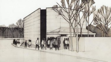 An architectural drawing of the original La Boite Theatre on Petrie Terrace, circa 1972, designed by Wilson Architects.