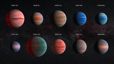 An artist's impression of some bigger, hot Jupiter exoplanets. <i>Image: NASA</i>
