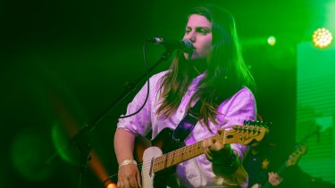 Alex Lahey performs with the EG AllStars during the 2016 The Age Music Victoria Awards, at 170 Russell, Melbourne. November 16th 2016. Photo: Daniel Pockett